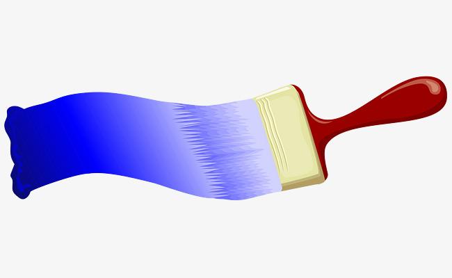 手绘蓝色渐变油漆刷