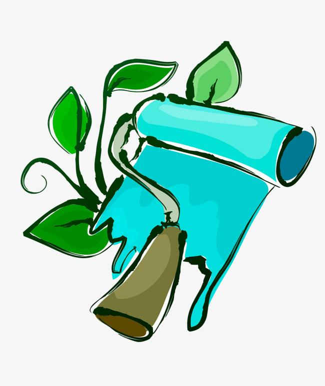 图片 装饰元素 > 【png】 手绘油漆滚筒绿叶