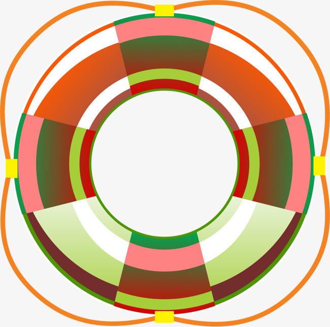 彩色手绘的圆形游泳圈
