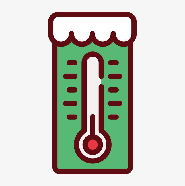 绿色手绘线稿温度计