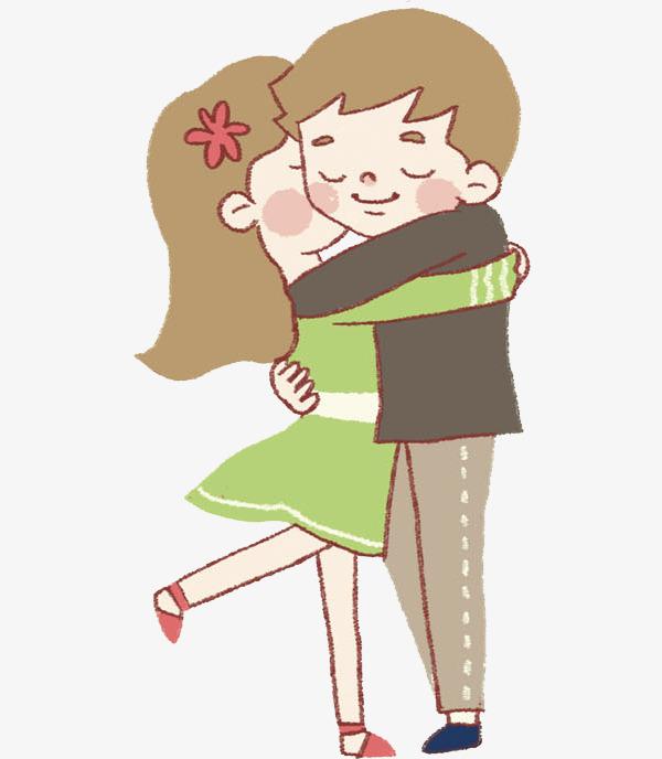 卡通情侣拥抱头像_卡通拥抱的情侣免抠图