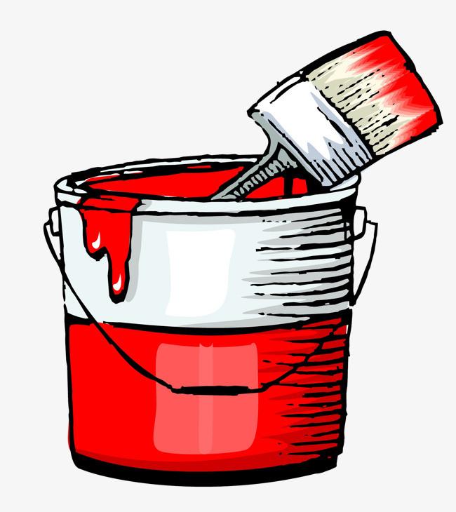 图片 装饰元素 > 【png】 手绘红色油漆桶涂料