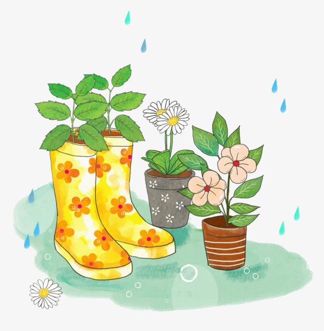 手绘水彩插画下雨天雨靴与花盘