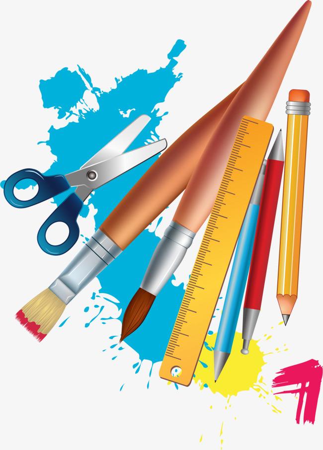 卡通版彩色手绘的画画工具