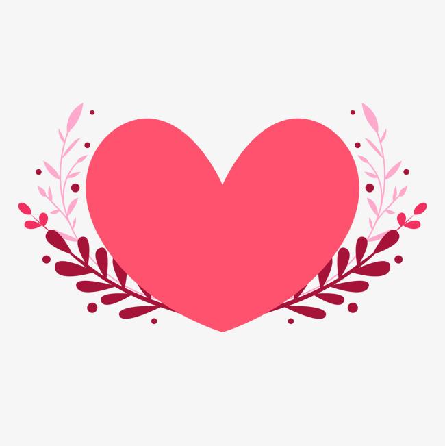 卡通粉色心形情人节装饰图片