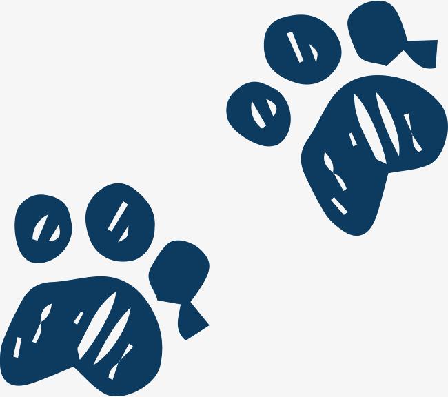 可爱卡通手绘蓝色猫爪印矢量图