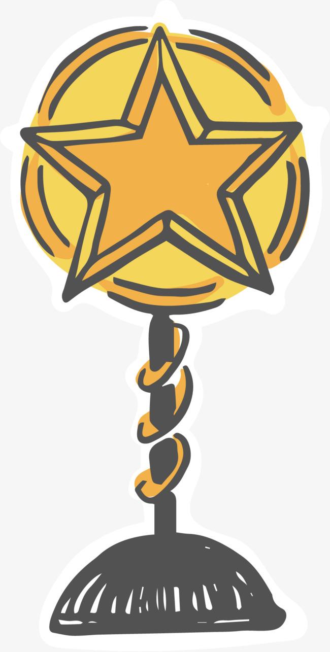 手绘金色奖杯素材图片免费下载 高清装饰图案psd 千库网 图片编号2990583