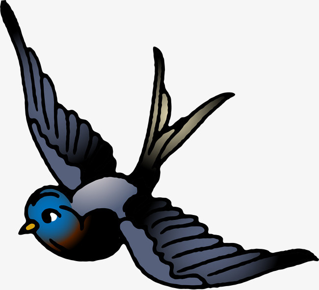 卡通可爱小动物装饰设计动物头像燕子