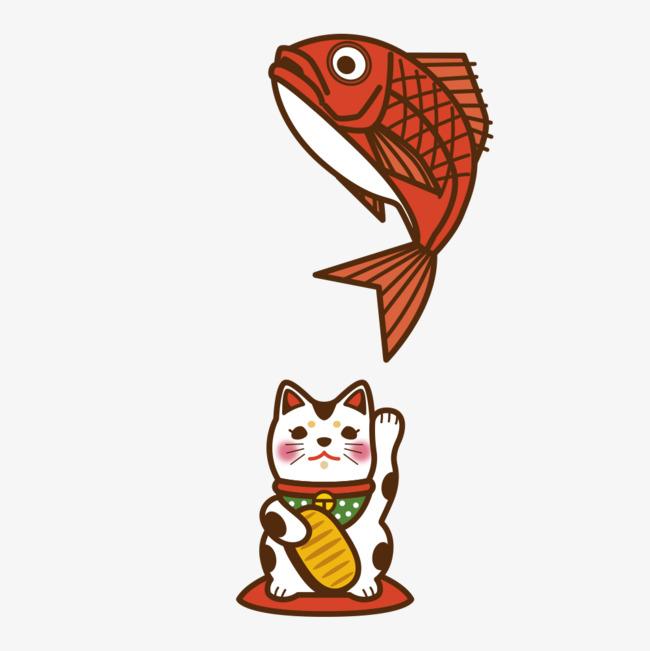卡通可爱小动物装饰设计动物头像猫咪和鱼