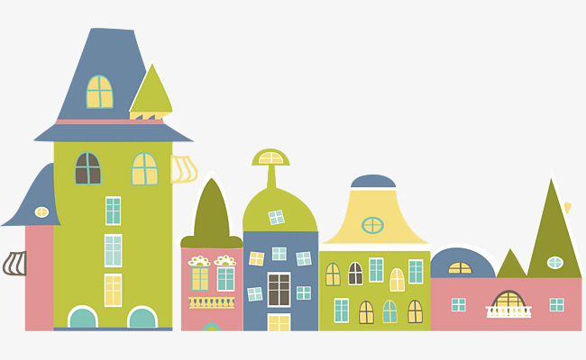 矢量图彩色卡通小房子