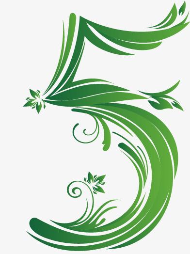 卡通手绘绿色数字5