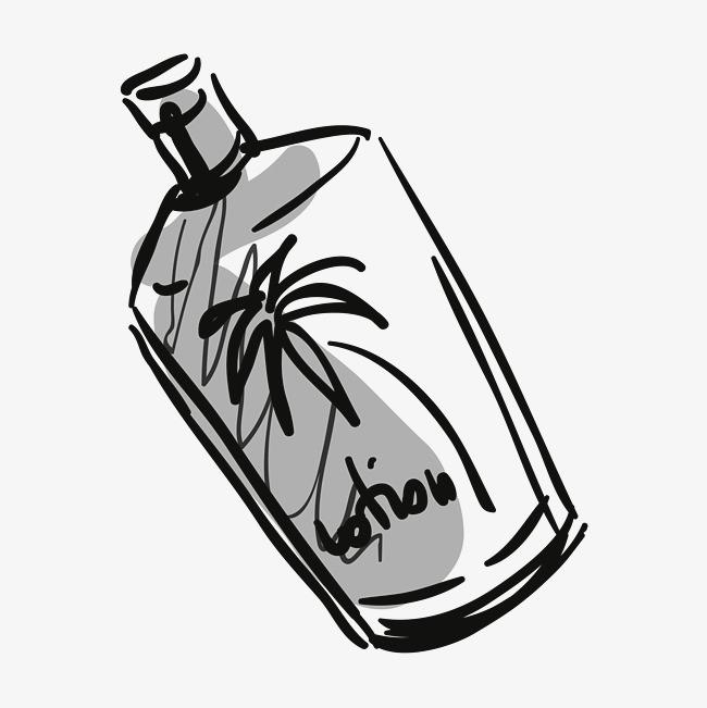 手绘艺术酒瓶png