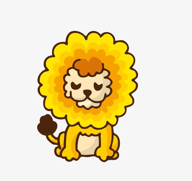 卡通可爱小动物装饰设计动物头像狮子