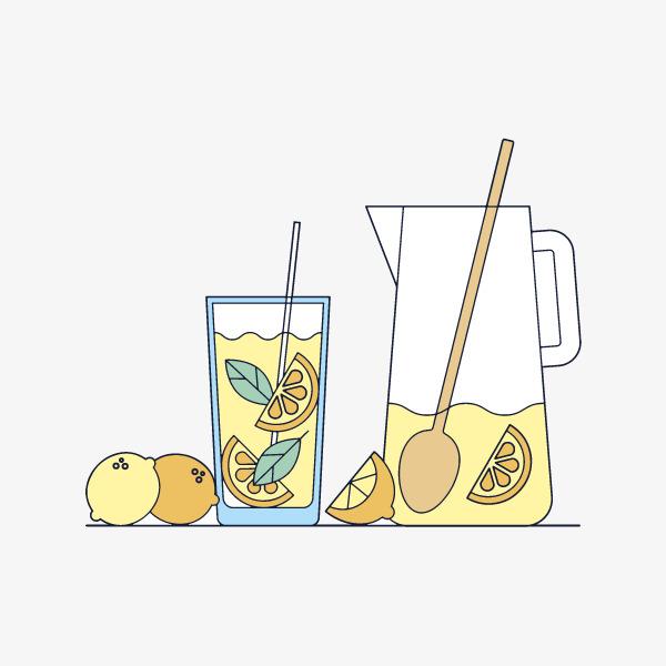 柠檬汁鸡尾酒手绘图