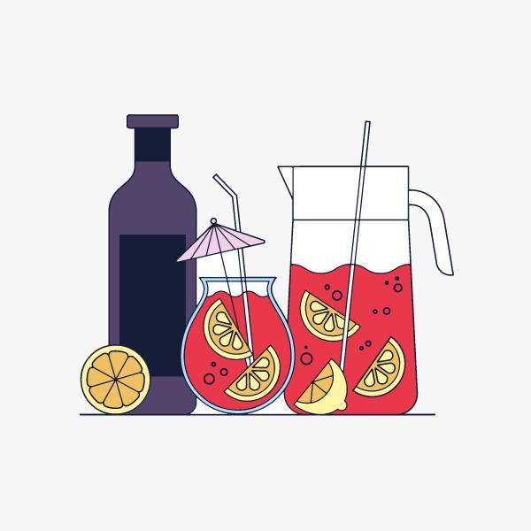 卡通果汁鸡尾酒手绘图