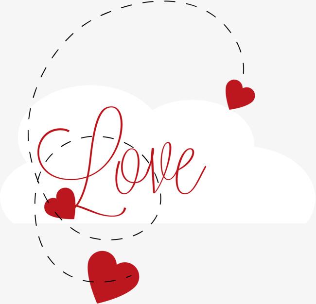 红色love线条爱心
