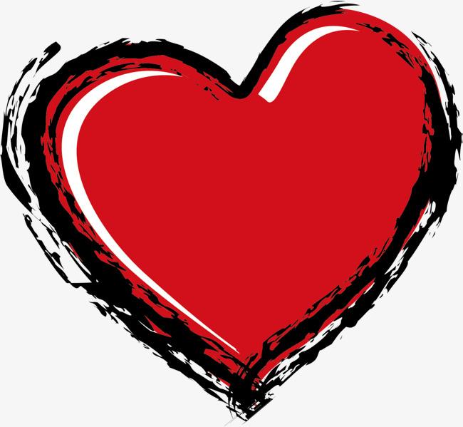 红色手绘线条爱心