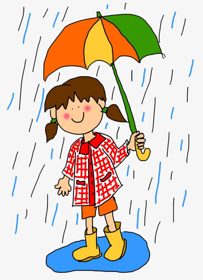 手绘卡通可爱插图雨天撑伞走在路上的女孩