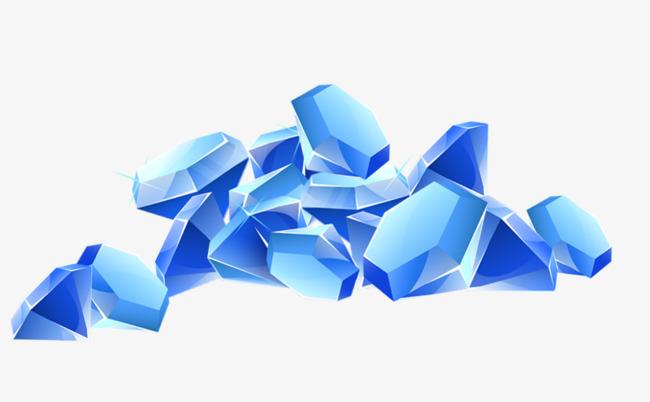 卡通手绘蓝色的钻石