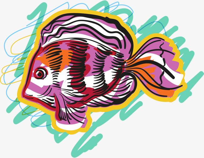 彩色手绘卡通深海鱼类png素材下载_高清图片png格式
