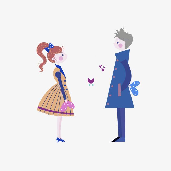 卡通面对面的情侣免抠图png素材下载_高清图片png格式图片