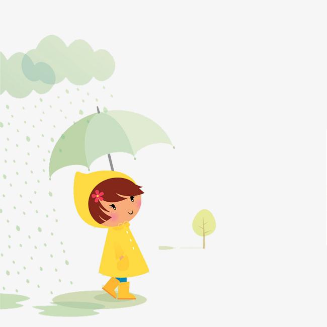 可爱卡通插图下雨天撑伞的小女孩素材图片免费t颜色配什么女生黑色恤图片