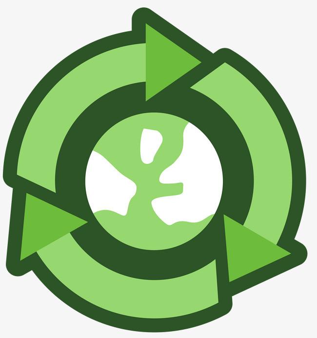 圆形绿色循环使用标志