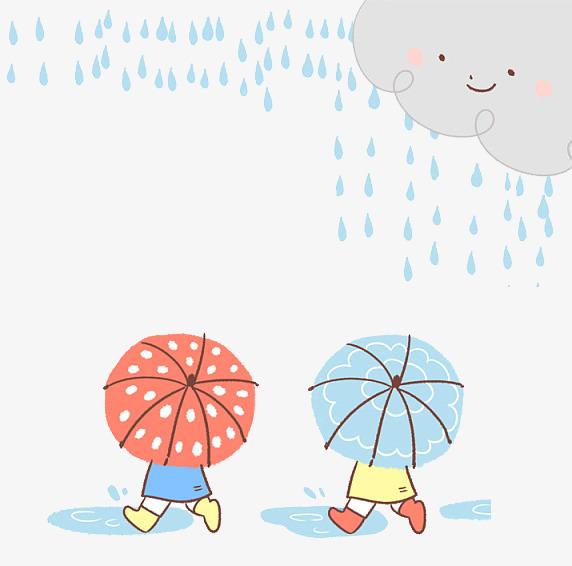 可爱卡通插图下雨天走在路上的孩子图片