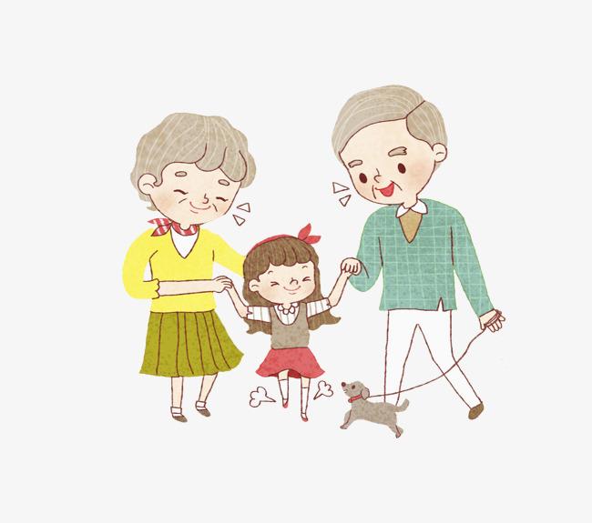 卡通高兴地一家人免抠图图片