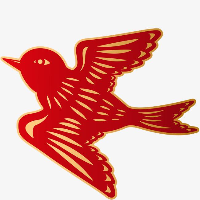 手绘 装饰图案矢量图 燕子 飞燕 动物 鸟类 剪纸免扣素材