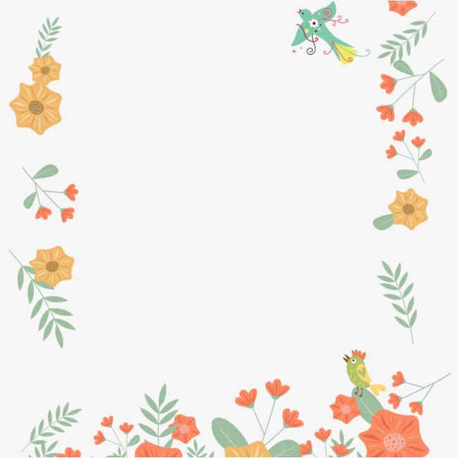 海报边框 彩色 植物 花卉 小清新 手绘 海报装饰png免费下载