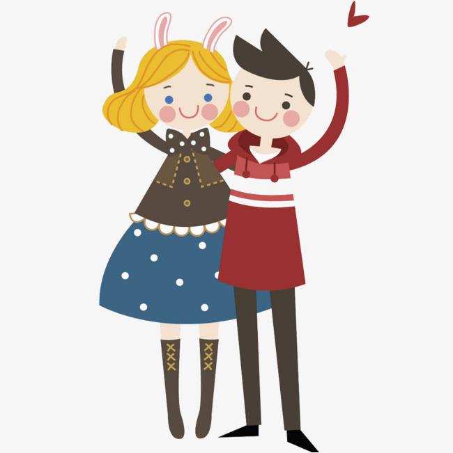 卡通打招呼的情侣免抠图png素材下载_高清图片png格式图片