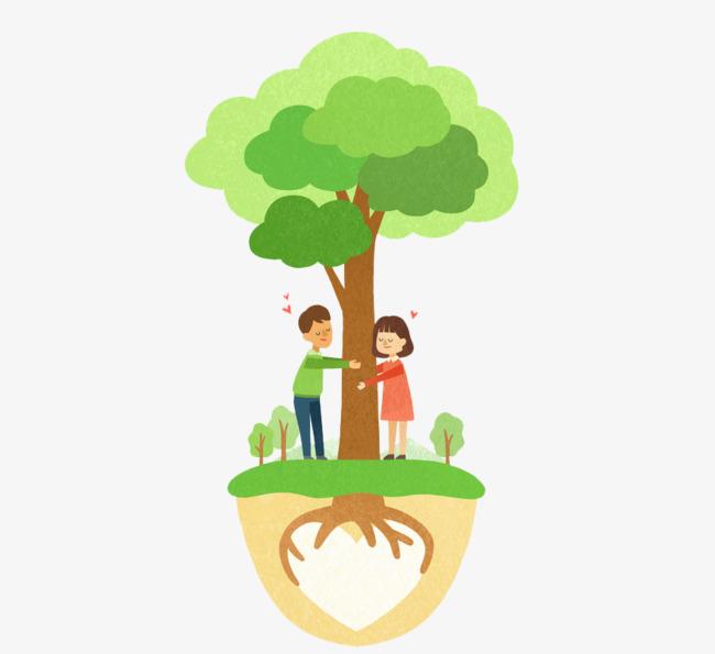 卡通大树下的情侣免抠图png素材下载_高清图片png格式图片