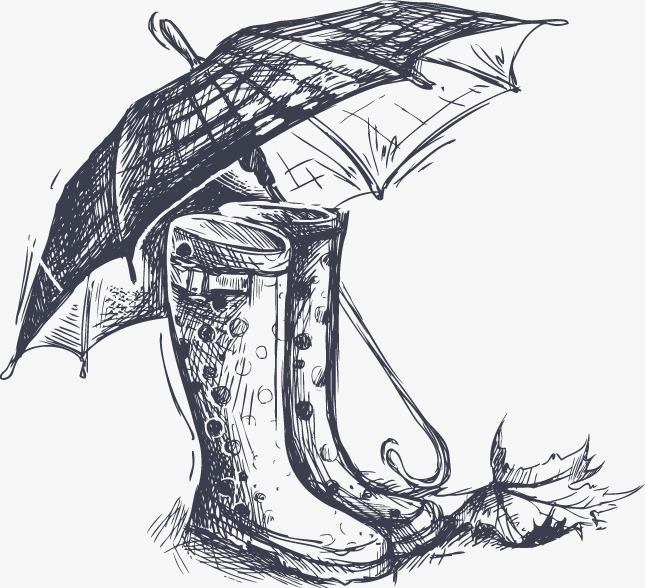 手绘速写插图波点雨鞋与格子雨伞