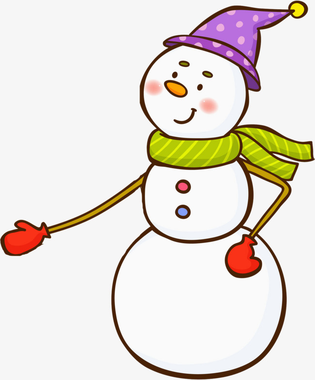 卡通伸手的雪人免抠图图片