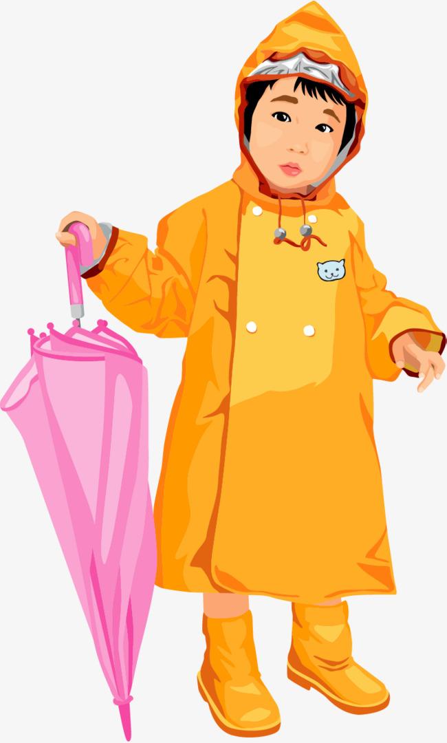可爱手绘插图穿雨衣拿着雨伞的小朋友