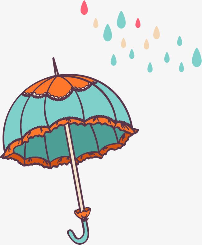可爱手绘卡通插图下雨天雨伞