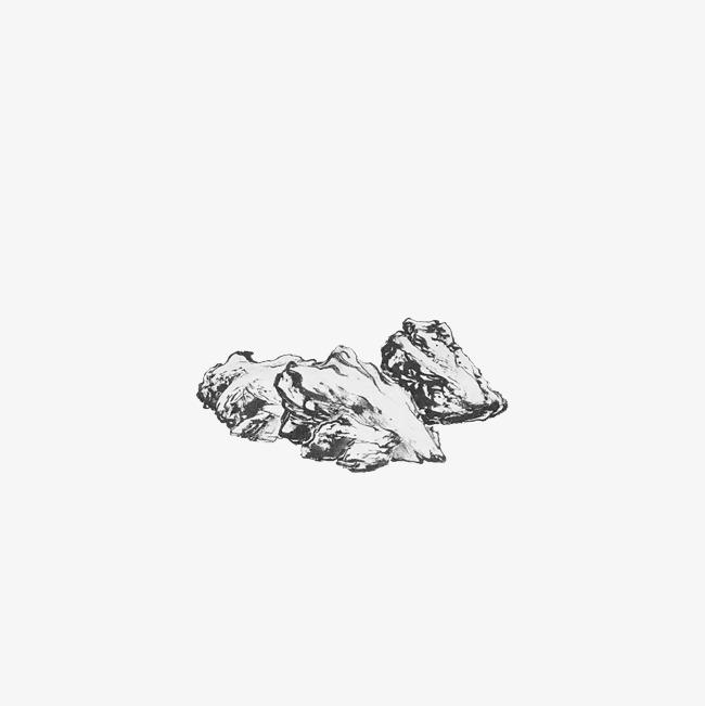 手绘黑白水墨石头