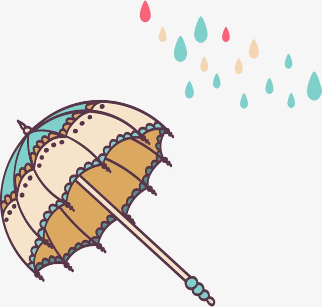 可爱手绘卡通插图花边雨伞