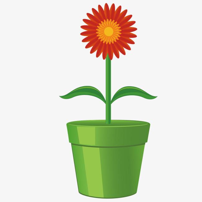 卡通手绘小花盆栽