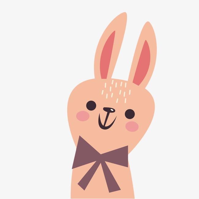小兔子 卡通 可爱 微笑 粉红色矢量图 动物png免费下载