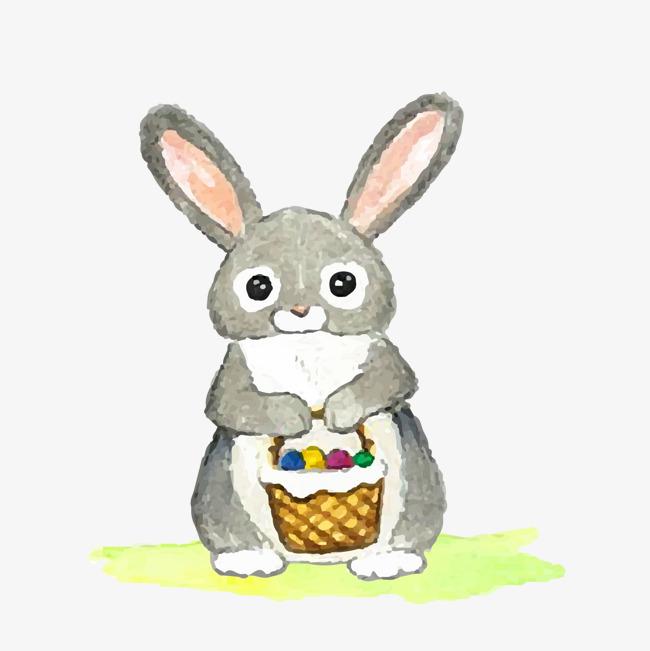 卡通可爱小灰兔矢量图