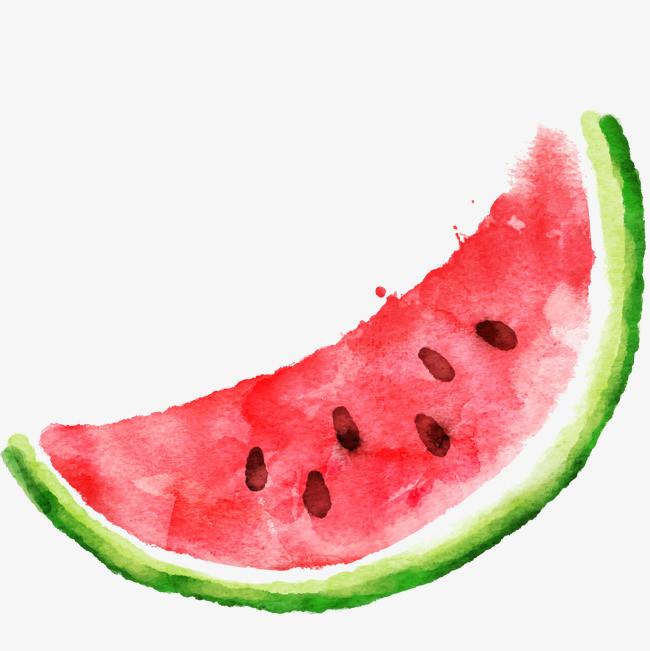 矢量图水粉手绘西瓜