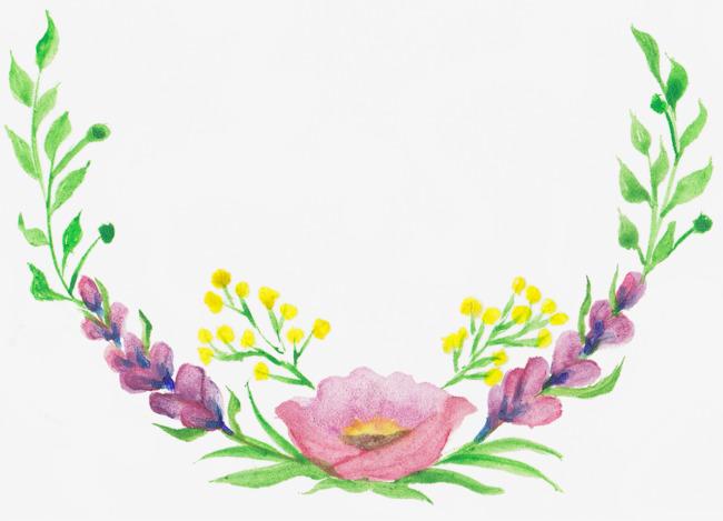 手绘水彩花卉花边