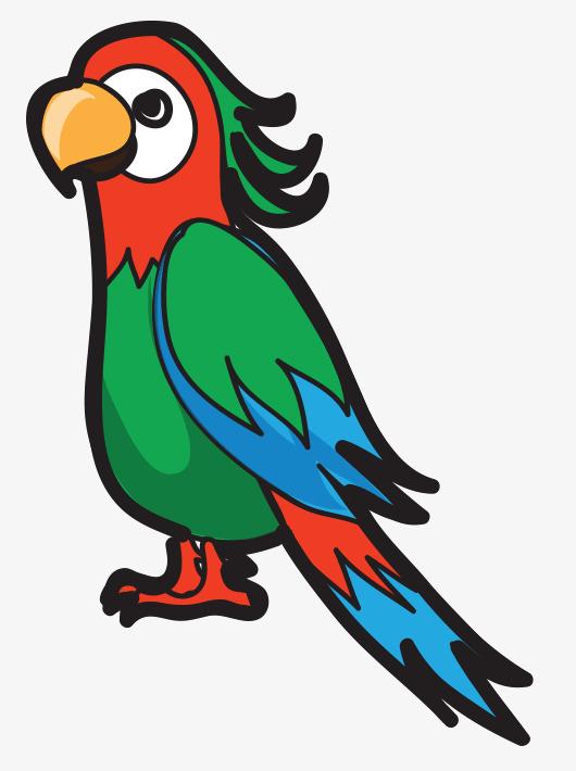 鹦鹉免抠手绘高清动物写实手绘插画免抠