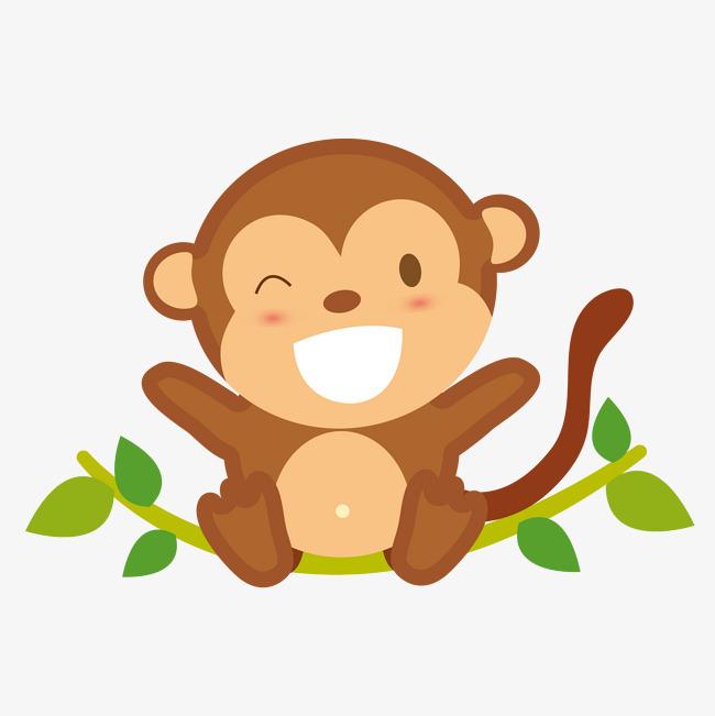 矢量手绘可爱俏皮猴子