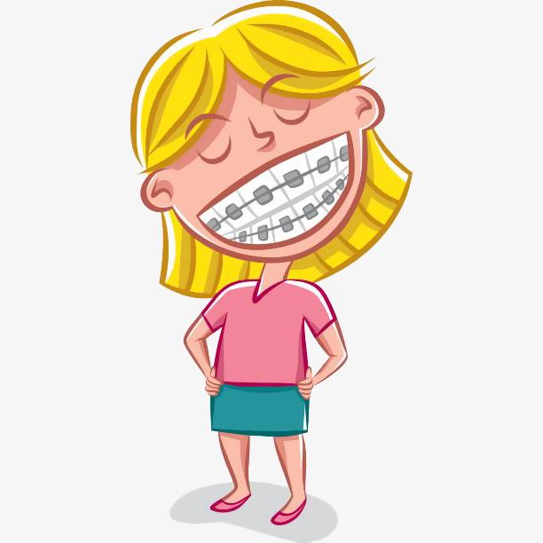 卡通女孩叉腰带牙套插画免抠图片