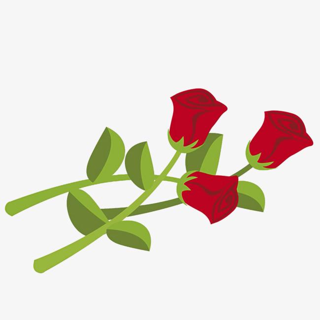 卡通红色玫瑰花免抠图
