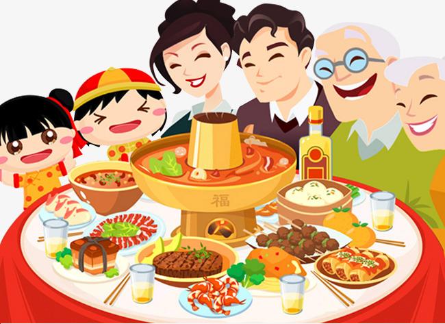 一家人吃火锅手绘图