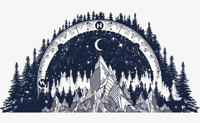 矢量手绘星星月亮海报